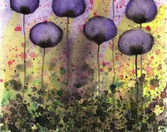 Watercolor Painting: Watercolor Flower Painting -- Art Print --  Ego Bruiser -- Purple Flowers -- 8x10