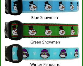 Winter Dog Collars, Snowman Dog Collars, Snowmen Dog Collars, Penguin Dog Collars, Seasonal Dog Collars, Christmas Dog Collars