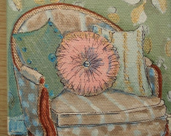 chair victorian style small art original painting still life
