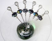 Stainless Steel Cocktail Appetizer Picks Set of 6 with Black, Blue, Purple, Yellow, and Green Lampwork Glass Beads