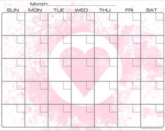 Loving Pink Heart Dry Erase Monthly Calendar Fridge Magnet #3586