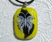 Green and Yellow Fused Glass Pendant With Butterfly