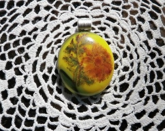 Yellow Fused Glass Pendant With Handpainted Flower Decal