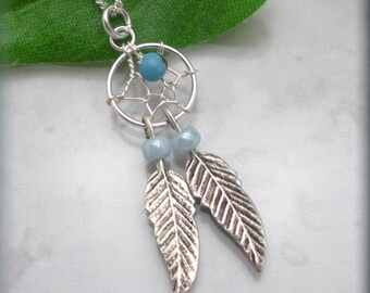 Dreamcatcher Necklace Sterling Silver Turquoise Stone Feather Dream Catcher Necklace Dreamcatcher Jewelry (SN854)