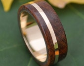 Size 9.5 READY TO SHIP Gold Solsticio Oro Nacascolo - all 14k yellow gold inlay and inner band with wood ring