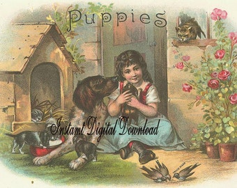 Digital Download Instant.Girl with puppies. Darling.Victorian.Great. Make cards,gift tags, price tags,pillows and more.