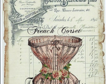 Digital download instant,Pink Coret French Ledger*300 dpi* decoupage, collage,sewing.ornaments