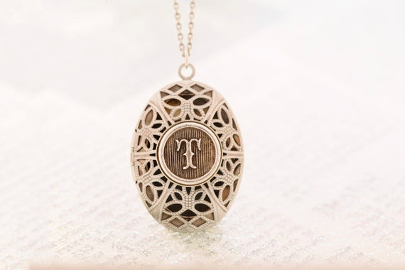 Valentines Day Letter T Monogram Locket, Letter Locket, Initial Locket, Choose Your Letter - Antique Silver
