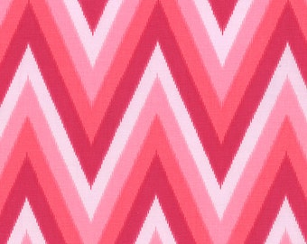SALE - Color Me Happy - Ikat Chevron in Pink: sku 10828-12 cotton quilting fabric by V and Co. for Moda Fabrics - 1 yard