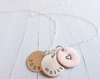 Mixed Metal Mom Necklace - Mini Petite Trio with Names Silver and Gold Charms with Rose Gold Pendant Discs Mommy Jewelry 3 Names and Metals