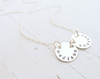 Name Necklace Silver Small Sterling Circle Name Pendants Hand Stamped Jewelry Mother Necklaces Handstamped Silver Nameplate Pendants