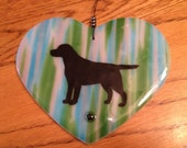 Fused Glass Heart Dog Breed - Labrador Retriever