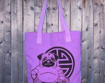 Buddha Pug Tote Bag, Original Art
