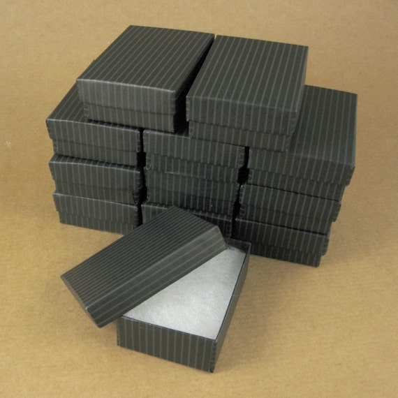 Black striped chipboard jewelry gift boxes set of 12 3 for Black box container studios