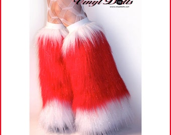 Sparkle Rave Fluffies Christmas Santa Boots Red White Furry Leg Warmers