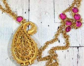 Gold Paisley Locket Necklace Filigree Pierced Pendant Long Chain Perfume Holder