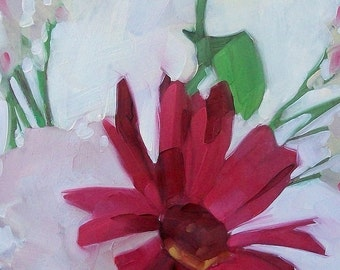 RED STAR floral oil painting with red flower and green leaves
