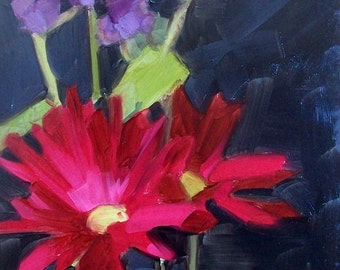 FROM DARKNESS oil painting of red and purple flowers