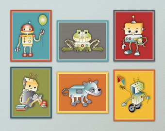 "Set of six 8x10"" Fun and Colorful Robot Nursery Art Prints, colors match robots play bedding"