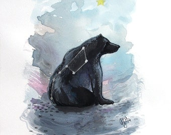 Ursa Major - bear big dipper print of original watercolor illustration 9x12 or 18x24 inches choose size