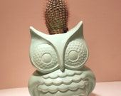 Handmade Ceramic Owl Planter in Jade / Pencil Holder from vintage mold hand painted in modern glazes.
