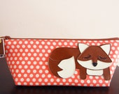 Grayson the Fox Strawberry Coral Pink Polka Dots Print Cotton Canvas Carry All Case Vinyl Applique