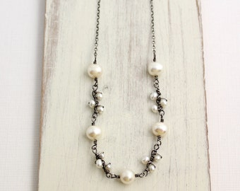Wrapped Pearl Vine and Buds Necklace Oxidized Silver