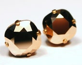 Rose Gold Crystal Stud Earrings Metallic Classic Sparkling Peach Pink Apricot Warm Copper Solitaire Swarovski 12mm 10mm Sterling Silver Post