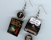 Book Cover Earrings - A tree grows in Brooklyn - literary book club librarian gift - typewriter key jewelry