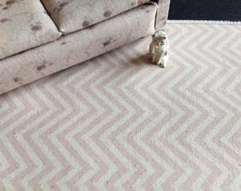 Dolls House Miniature Pink Chevron Rug