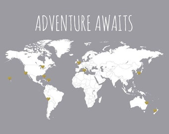 Adventure Awaits - DIY World Map and Sticker Kit - Travel Map, Red or Gold Heart Stickers, Map for Pinning, Traveling Map Poster, Gift Idea