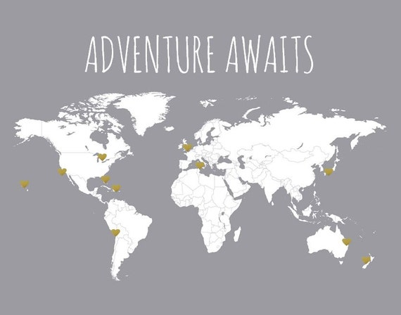 Adventure Awaits DIY World Map and Sticker Kit Travel Map