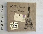 Eiffel Tower, Paris - Burlap over Cork Message Board 12 inch - Pin Board, Bulletin Board, Memo Board, Tack Board