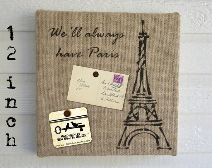 Eiffel Tower Paris - Burlap over Cork Message Board 12 inch - Pin Board French Bulletin Board Memo Board - Paris Wall Art Eiffel Tower