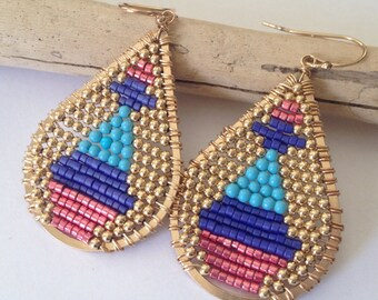 Colorful beaded teardrop earrings