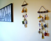 Windchime, suncatcher white, blue, yellow, red wind chime stained glass recycled itty 7