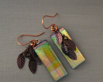 Fall Jewelry, Dichroic Fused Glass  Earrings, Copper Leaves Fused Glass Earrings, Long Rectagular Dichroic Earrings