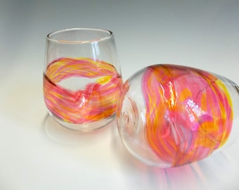 Hand Blown Art Glass Stemless Wine Glasses, Sunset Watercolor Series Wedding Registry Gifts
