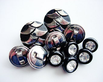 Pretty Lot of Various Vintage Black Glass Rhinestone and Fancy Silver Luster Buttons