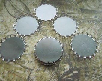 Cabochon Settings 21mm Bezel Round Lace Edge Silver Tone Findings on Etsy x 6
