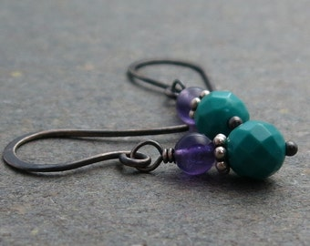 Purple Amethyst Earrings Turquoise Earrings Oxidized Sterling Silver Earrings