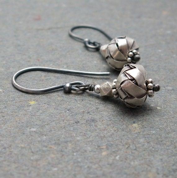 Hanging Basket Earrings . Sterling Silver Earrings