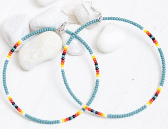 turquoise seed bead hoop earrings