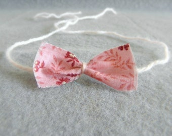 Baby headband halo tie back floral fabric bow rose pink flowers cherry photography photo prop newborn toddler girl