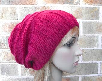 Slouchy hat wide band in cranberry raspberry cherry dark red wine ruby maroon beret tam hand knit australian wool women winter beanie