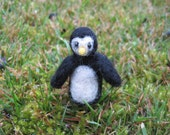 Needle Felted Miniature Penguin Tiny Figurine