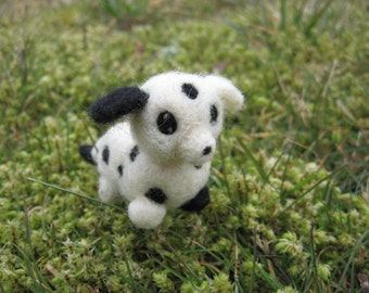 Needle Felted Dalmation Dog Figure Spot the little Doggy