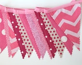 Pink Mix Bunting party decoration. Fabric sewn flag Banner. Photo prop. 12 Pennant flags