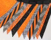Halloween Mix Bunting party decoration. Fabric sewn flag Banner. Photo prop. 12 Pennant flags