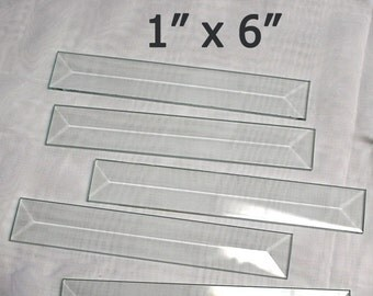 Box of 30 )( 1 x 6 inch Clear Glass Bevels - Flat On Back for Jewelry, Solder Art, Stained Glass